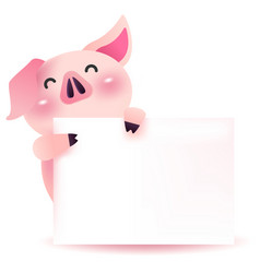 cute pig character with blank signboard vector image