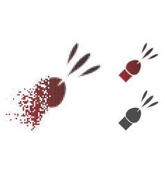 Dissolving pixelated halftone ejaculation icon vector