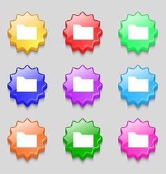 Document folder icon sign symbol on nine wavy vector