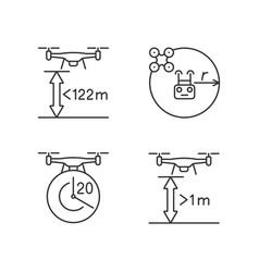Drone proper control linear manual label icons set vector
