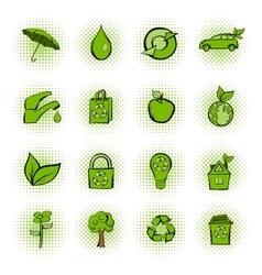 Eco comics green icons set vector image