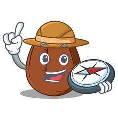 Explorer coffee bean mascot cartoon vector