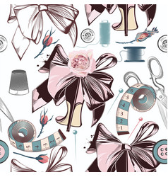 fashion pattern with sewing accessories bows vector image