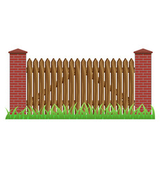Fence with brick pillars and wood gate vector