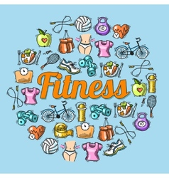 Fitness sketch vector image