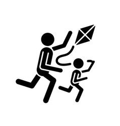 Flying kite black glyph icon vector