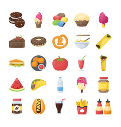 Food and drinks flat icons collection vector