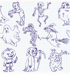 freehand drawing halloween vector image