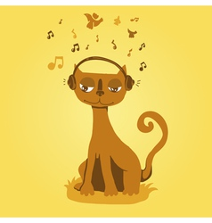 funny cat listens to music vector image