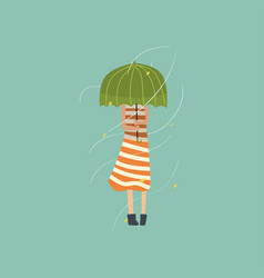 Girl freezing and shivering under green umbrella vector