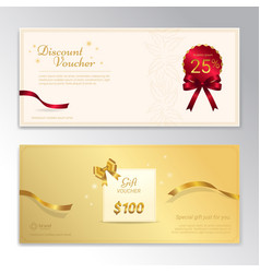 Gold glitter gift voucher certificate coupon for vector