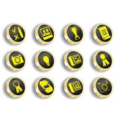 golden web icon set vector image