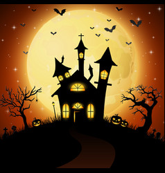 halloween background with scary church vector image