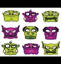 Halloween scary zombie heads vector