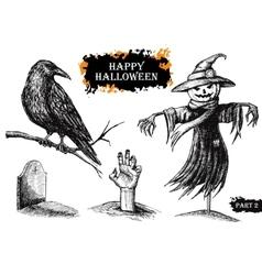 Hand drawn halloween vintage vector