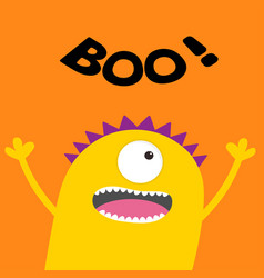 Happy halloween card boo text screaming spooky vector