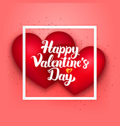 happy valentines day pink card vector image