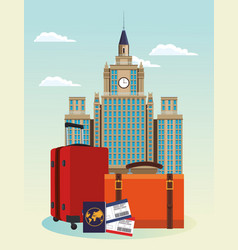 Iconic city buildings and travel suitcases with vector