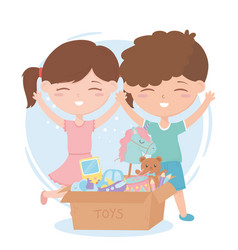 Kids zone little boy and girl with cardboard box vector