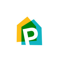 Letter p house home overlapping color logo icon vector