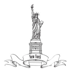 liberty statue new york city usa travel usa symbol vector image
