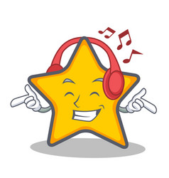 listening music star character cartoon style vector image