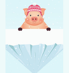 Little pig in hat standing behind snowy rock vector