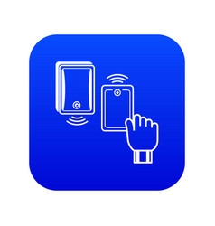 Magnetic lock icon blue vector
