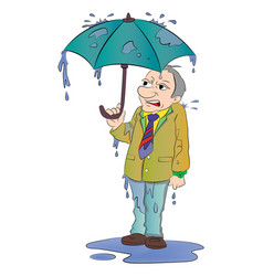 Man with a small umbrella vector