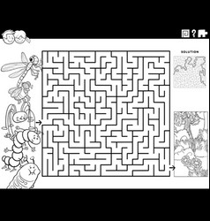 maze game with insects and meadow coloring book vector image