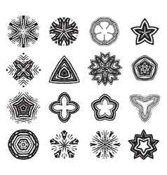 Ornament black and white line art design set vector image