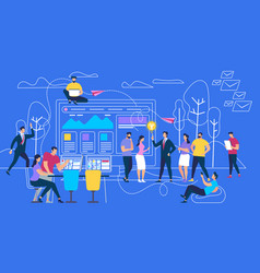 people using gadgets walking outdoors in park vector image