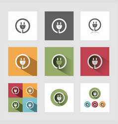 Plug icon set vector