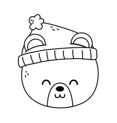 polar bear head with hat merry christmas thick vector image