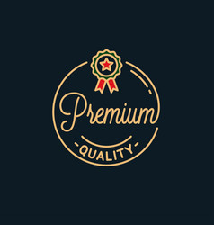 premium quality logo round linear best product vector image