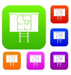 Project of house on a board set collection vector
