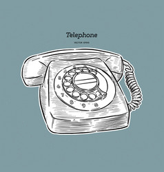 Retro telephone hand draw sketch vector