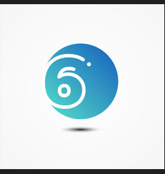round symbol number 6 design minimalist vector image