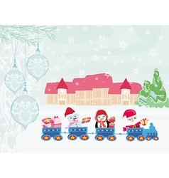 Santa Christmas Train vector image
