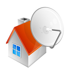Satellite dish and house vector