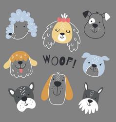 Scandinavian dog set on a grey background vector