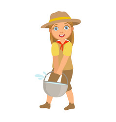 Scout girl dressed in uniform and holding tourist vector