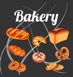 set bread isolated on the black background vector image