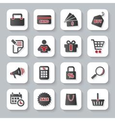 set flat modern shopping web icons vector image