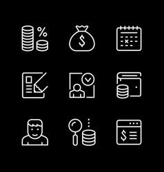 set line icons credit vector image