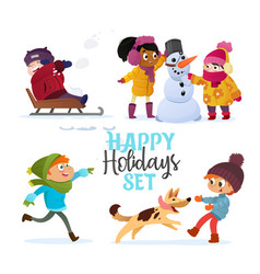 Set multiracial kids playing in winter girls and vector