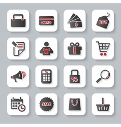 Set of flat modern shopping web icons vector image