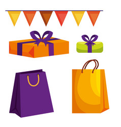 Set party banner with presents gifts and bags vector
