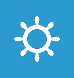 ship wheel icon white on the blue background vector image