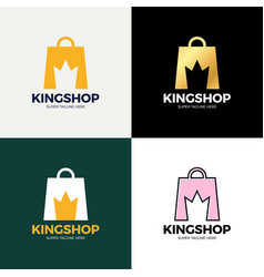 shopping bag and crown in negative space crown vector image